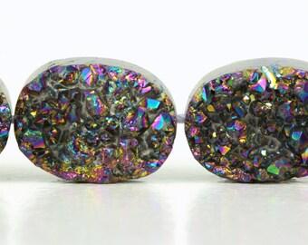 Multi Color Druzy Quartz Beads, ONE, 20.5mm  x 30.5mm Metallic Titanium Multi color, Oval Flatback Beads, Druzy Agate, Druzy, Beads KJ