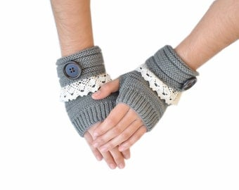 Lace Trim Button Fingerless Warmers, Fingerless Gloves, Cable Knit Gloves-Dark Gray