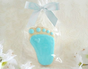Blue Baby Feet with a Sparkle 2 Dozen (24 cookies) Baby Shower Favor - Birthday Gift - New Baby