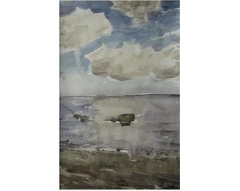 Clouds and stones. Baltic landscape - original watercolor
