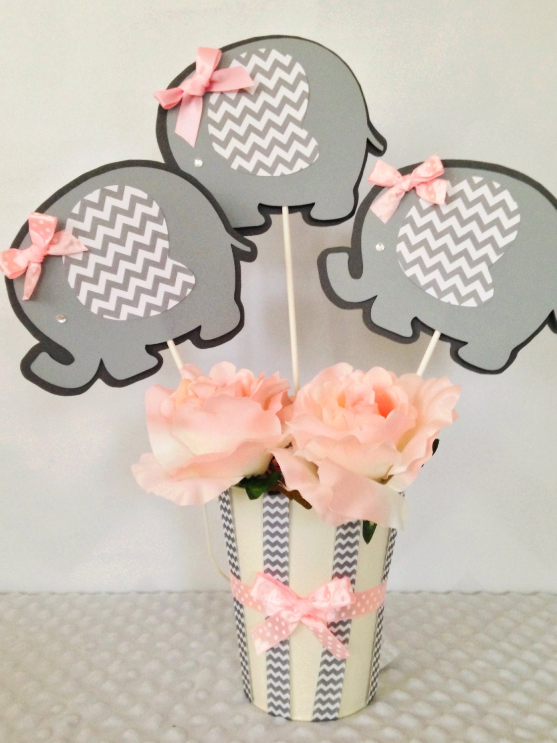 Elephant baby shower centerpiece for girls pink and gray