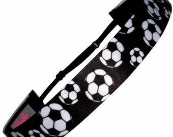 Non Slip Adjustable Headband, Girls Soccer Black & White by RazzyRoo Headbands #NB0226S