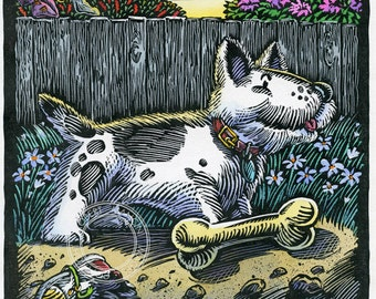 Children illustration - Bad Dog George 1 - art print of original scratchboard artwork