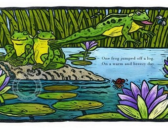 Children illustration - Frogs Linocut - art print of original linocut artwork