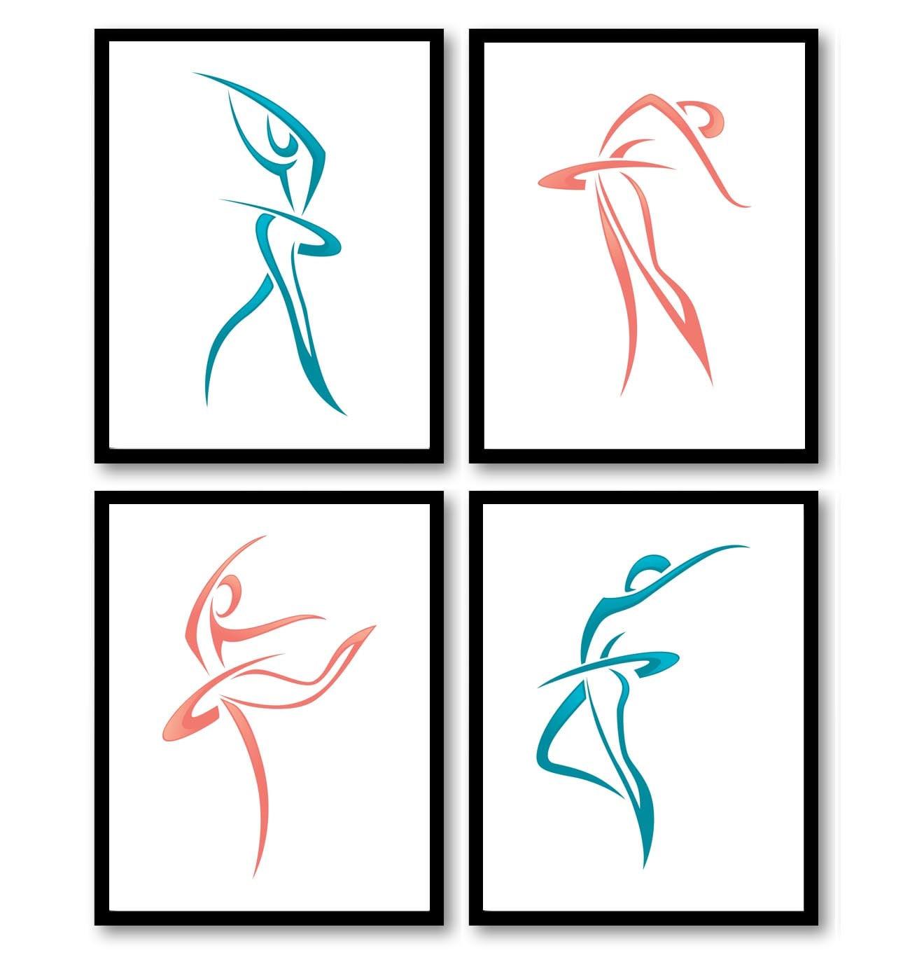 Pink Blue White Modern Ballerina Art Child Baby Art Prints Set of 4 Silhouette Ballet Girl Kids Room