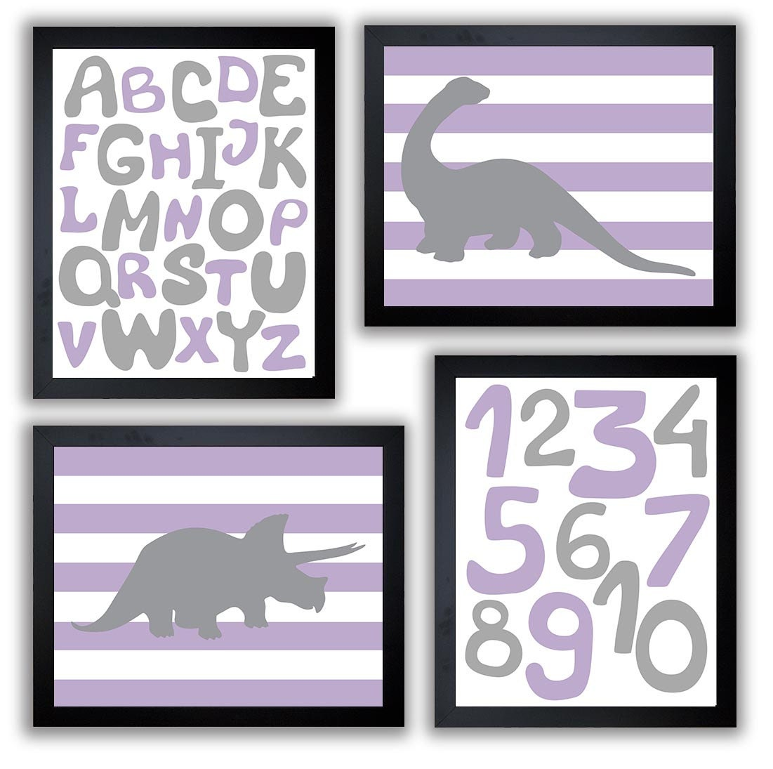 Dinosaurs Nursery Art Set of 4 Prints Grey Purple Stripes Tyrannosaurus Rex Brachiosaurus Alphabet N