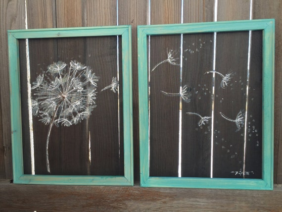 Items similar to old window screen wood frame quot dandelion