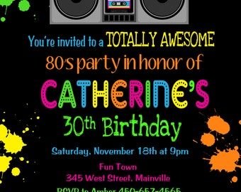 Totally Awesome 80's Eighties Birthday Party Invitation