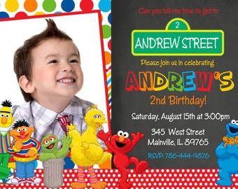 Sesame Street Birthday Party Invitation -  Digital or Printed with Free Shipping