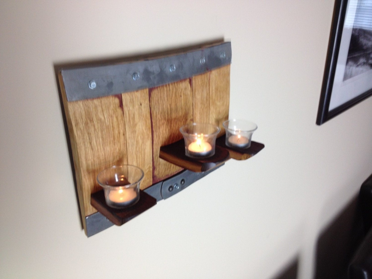 Wall Sconce Tealight Candle : Wall Sconce 3 votive candle holder by BarrelArtLLC on Etsy