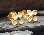 Flower Stud Earrings - Gold Blue Sapphire Birthstone