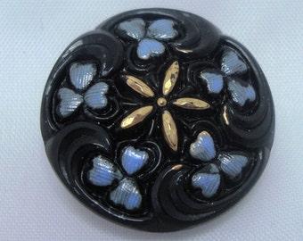 Czech Glass Button 23mm - hand painted - black, blue, gold (B23052)