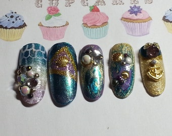Press on Nails Kawaii Hime Gyaru Japanese Mermaid Nails