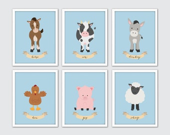 Farm Animals Nursery Art, Farm Animals Wall Art Print, Farm Nursery Room Decor, Nursery Animals Art, Horse, Cow, Donkey, Hen, Pig, Sheep