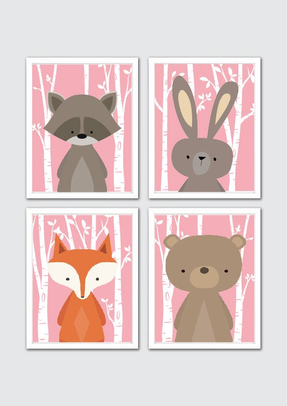 Items similar to woodland animals nursery art prints for Babyzimmer vintage