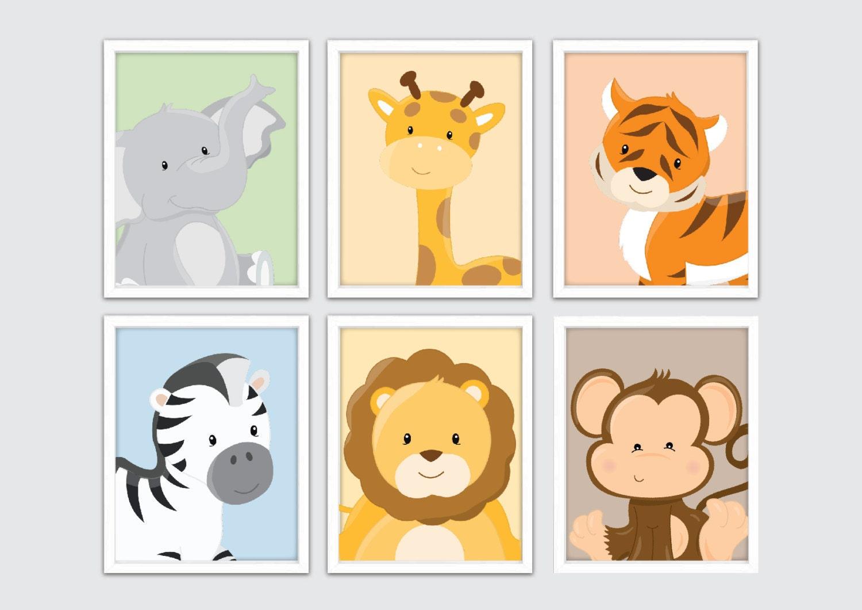 Baby animal prints jungle nursery wall decor zoo animals for Animal wall decoration