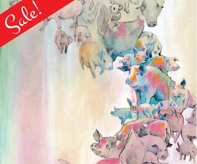 "Numbered ""Pigs"" print, Series of 50,  Animal liberation art."