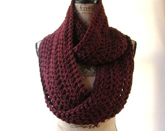 Infinity Scarf Burgundy Cowl Scarf Fall Winter Women's Accessory Infinity Made To Order