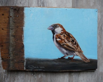 SOLD!!!!      Sparrow #20, bird art, original painting, oil paint on reclaimed wood