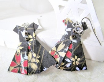 Origami Jewelry - Paper Dress Earrings - Paper Anniversary - Paper Jewelry - Origami Earrings - WY11