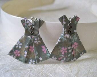 Origami Jewelry - Paper Dress Earrings - Paper Anniversary - Paper Jewelry - Origami Earrings - WY09