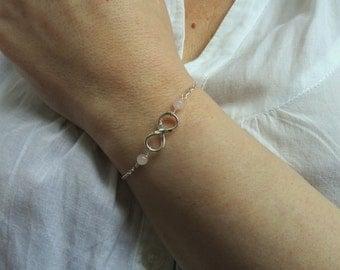 Sterling silver Infinity rose quartz bracelet, Infinity bracelet, Gifts, Gemstone bracelet, Infinity jewelry, Rose quartz bracelet
