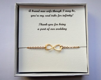 Your own message infinity bracelet, Gold infinity bracelet, Infinity jewellery, Bridesmaids gifts