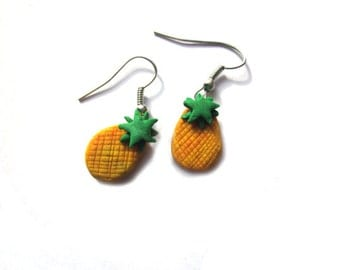 Polymer Clay Pineapple Earrings, Polymer Clay Pineapple Fruit Jewellery, Polymer Clay Food Earrings,  Kawaii Unique Colourful Earrings