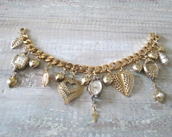 Chunky Heart Charm Bracelet, Goldtone, Vintage Jewelry Elements
