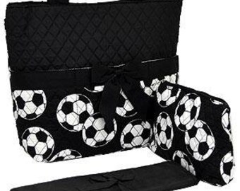 Machine Embroidered Quilted Diaper Bag-Black Trim with soccerballs