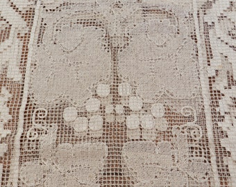 FINAL CLEARANCE SALE - Vintage Table Cloth - Crochet Machine Made - Cream - Very Large - 175cm x 280cm