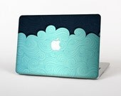 The Aqua Green Abstract Swirls with Dark Skin for the Apple MacBook Air - Pro or Pro with Retina Display (Choose Version)