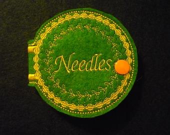 Sewing Needle Case,needle holder,needle organizer,gift for sewer,grab bag,wool felt,quilting retreat,pin cushion,seamstress,felt case