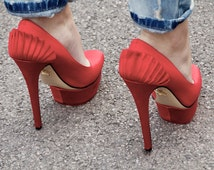Ready to frame: Red shoes at London Fashion Week. Mounted/ mat photo. Special rate shipping. 8x10 photo. A4 photo.