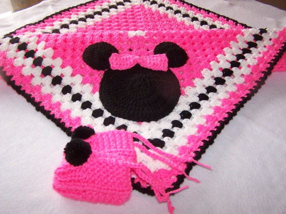 Crochet Patterns For Minnie Mouse : Hand Crocheted Minnie Mouse Granny Square Baby Blanket ...