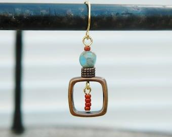 Pretty Czech Glass and Copper Earrings...