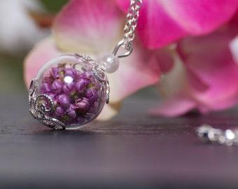 Elegant Heather Hand Blown Glass Jewelry Set - Beautiful Pink Heather Flowers encased in glass