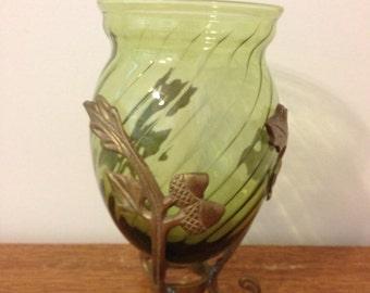 Vintage Acorn Motif Glass Vessel in Metal Stand
