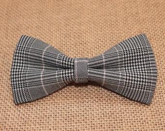 Gray Bow Tie / Plaid Pre-Tied Bow Tie / Classic Plaid Bow Tie / Mens grey bow tie / Bow Ties, Boys Bowties, Boys Bow Tie, Baby Bowtie