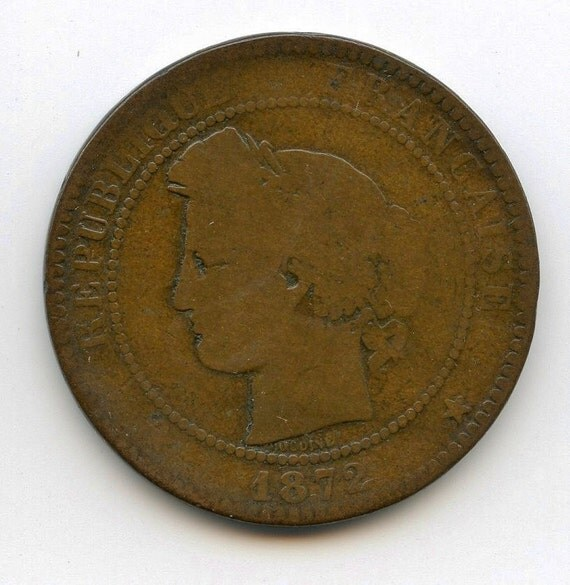 1872 10 centimes french coin