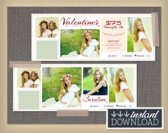 Valentine's Day Facebook Timeline Template - Photography Template - Facebook Cover Photo Template - Photographer - PSD