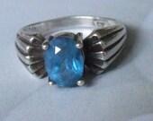 Vintage Sterling Silver Prong Set Swiss Blue Topaz Gemstone ring Size 6