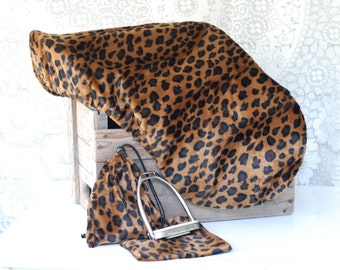 Ready to SHIP! Cheetah All Purpose English Saddle Cover and matching stirrup covers set in brown/black velvety short faux fur