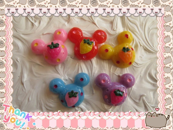 0: )- CABOCHON -( Strawberry Mouse Micky Ears