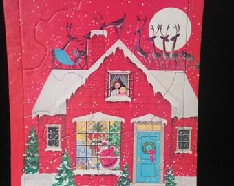 Retro Saalfield Christmas Puzzle, Santa, Reindeer, Christmas Eve
