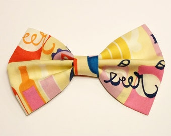 Tan Beer Bow • Cotton Hair Bow • Beer Ale Hair Bow • Brewery Ale Hairbow • Tan Beer Fabric  • Gifts For Girls • Women's Fashion •Spring