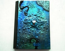 Polymer clay journal / teal dragon journal / secret diary / fantasy diary / custom journal / dragon sculpture / dragon eye