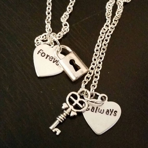 forever always lock and key matching necklace set by