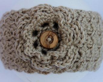 Tan Crochet Headband Earwarmer with Flower, Crocheted Headband Earwarmer, Winter Earwarmer, Women's Crochet Headband, Flower Earwarmer