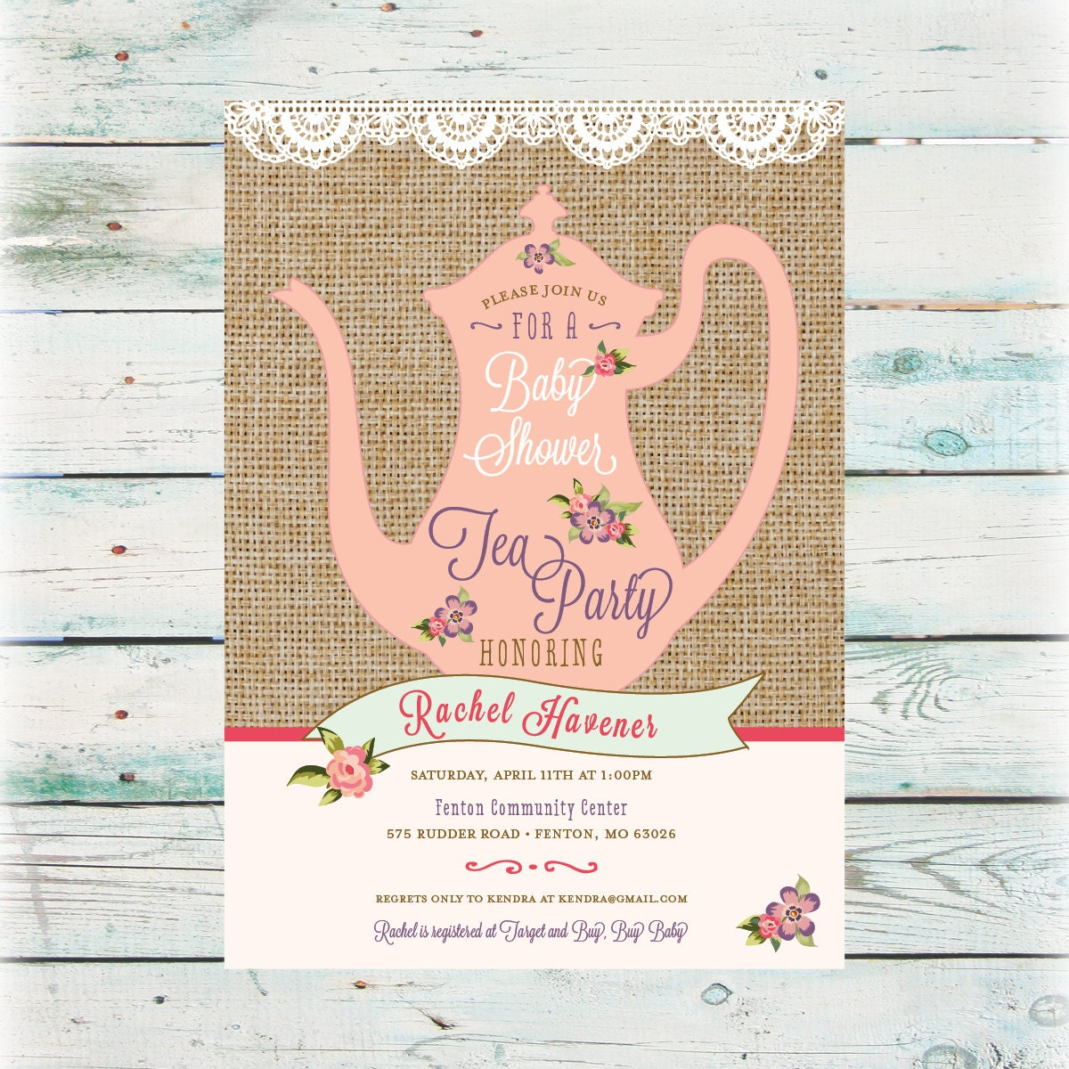 printable tea party baby shower invitation digital file